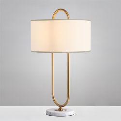 Moderne minimalistische marmeren metalen vloerlamp Decoratie Tafellamp Living Voor slaapkamer Cafe eetkamer Decoratieve Gold Desk Light met Stoffen doek schaduw