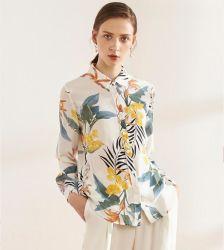 맞춤형 디자인 여성용 상의 긴팔 루즈드 레이디스 실크 블라우스 셔츠