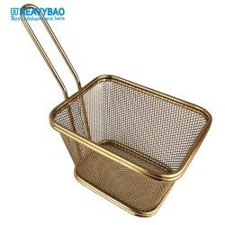 バスケットを揚げる小型サービングのバスケットフランスのFrieをめっきするHeavybaoの高品質のローズの金の真空