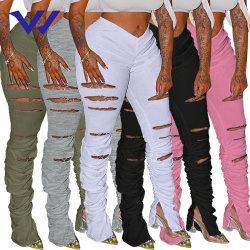 Venta caliente mujer agujero Rip sudadera de color sólido apilados de tela plisada Leggings Split Micro Pista de pull-up pantalones