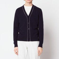 Lane di base di modo del V-Collo di colore di contrasto degli uomini e maglione del cardigan lavorato a maglia cachemire