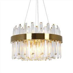 Villa de luxe post-moderne Pendentif or lampe avec cristal clair Strip