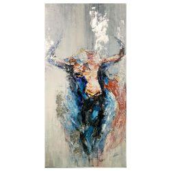 Pittura a olio Handmade incorniciata della decorazione della casa di arte della parete della mucca della tela di canapa