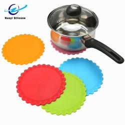 Colorida forma redonda de la FDA de silicona de Flor de grado alimentario Placemat
