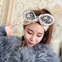 Elegante moda Lace Bow Tricô enrolamento da cabeça de croché Lady Data Bonitinha Flower Wooly Turbante tricotado cabo ajustável