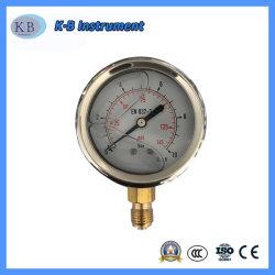 Aço inoxidável Movimento de latão logotipo personalizado do tubo de Bourdon de vácuo do medidor de pressão do manômetro do contador de água