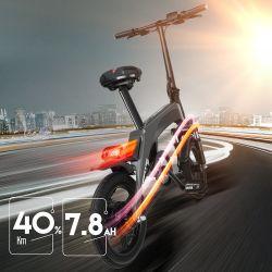 Plegado de fibra de carbono 350W de la bicicleta eléctrica China Motor sin escobillas de bolsillo Mini Moto con amortiguadores