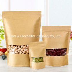O cheiro a prova Kraftpaper Reclosable Grau Alimentício Stand up preservam o saco de alimentos