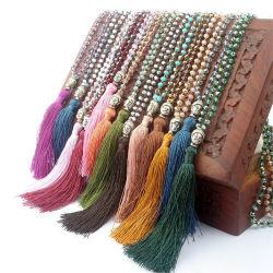 여자를 위한 술 목걸이 숙녀를 위한 로즈 석영 매듭을 짓 목걸이 요가 매력 Mala 108의 목걸이