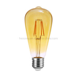 St64 LED Edison para lâmpadas de incandescência E27 de vidro âmbar 4W 2200K/2400K Vintage Lâmpada LED