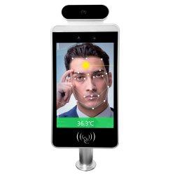 쉬운 8 인치 지능적인 바디가 NFC 디지털 IR 측정 온도 온도계 간이 건축물을 검출하는 IR 센서를 가진 Ultra-Thin 얼굴 승인 온도 스캐너를 운영하십시오