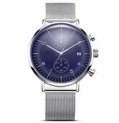 製造業者のメロディーの水晶ステンレス鋼の女性の人のアナログの男女兼用の腕時計のカレンダ