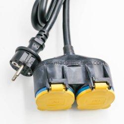 Extensions-Kabel 3 M mit doppeltem Netzverteilungs-Garten-Stecker der Kontaktbuchse-250V/16A IP44 außerhalb des Garten-Kupplung Schuko Steckers H07rn-F 3G1 im Freien