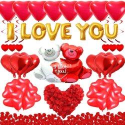 رينيه أنا أحبك بالونات الذهب وكتيبة بالونات القلب مع 1000 كمبيوتر سطح مكتب مع بتلات الحرير الأحمر الداكن الورود ديكور الزهور الرومانسية
