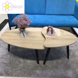 Промышленный коммерческий цельной древесины гостиной металлические ноги круглый стол центра кофе набор из 2