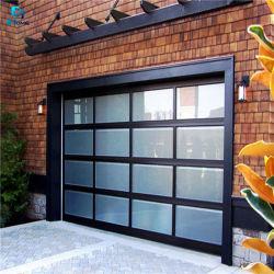 현대적인 스타일의 알루미늄 프레임 플러시 금속 유리 차고 문 개폐기 게이트 아코디언, 머리 위 부분 차고 문