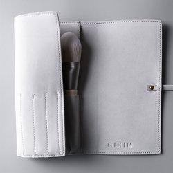Custom cuero pu bolsa de cosméticos organizador de viajes Bolsa de pincel de maquillaje maquillaje bolsas plegables cepillo caso Viajes Portaescobillas