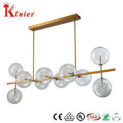 Restaurante Venda quente único decorativa de metal de bronze claro na luz de tecto de esferas de vidro da lâmpada pendente moderna
