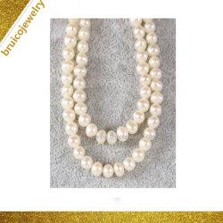 Мода серебристый цвет белого золота ожерелья украшения пресноводных Pearl цепочка для проведения свадебных подарков