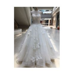 Élégant Sweetheart Handmade 3D jusqu'blanc Fleur dentelle robe de mariée