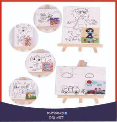 DIYの子供表のイーゼルはキャンバスのフレーム、ブラシ及びパレットによってセットした