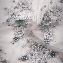 3D Fleur dentelle française tissu avec des perles de pierre pour mariage