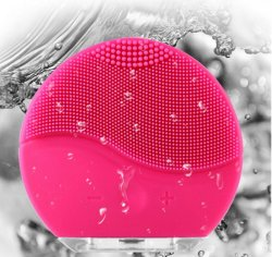 Rosa redondo Mini Electric Limpeza Facial Recarregável Massajador Facial