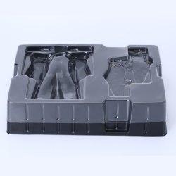 Dienblad van de Blaar van het Stuk speelgoed van de Steen van het Huisdier van de douane het Zwarte Verpakkende met Transparant Deksel