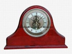 Grand bureau en bois de palissandre finition piano horloge Mantel