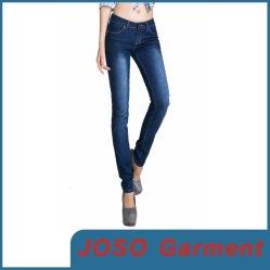 Dark Bule Algodón Spandex mujeres Skinny Jean (JC1050)