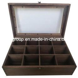 Boîte en bois massif avec fenêtre claire et 12 compartiments Boîte de thé en bois
