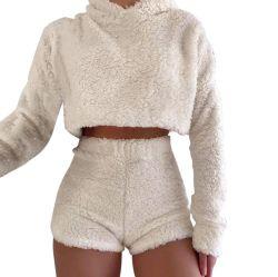 As mulheres Fofo Fleece Suit camisolas com capuz Sexy Shorts Parte Casual Club Esg16492 de Desgaste