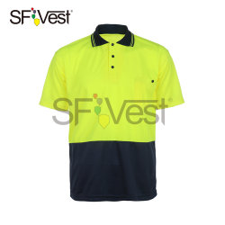Hi Vis Workwear Safety Polo shirts met korte mouwen Dry Fit for men Day Only gebruik SPF50+ met Navy AS/NZS 4602.1: 2011
