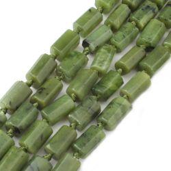 Canadá Verde Jade solto do cilindro de cordões de pedra natural para joalharia tornando