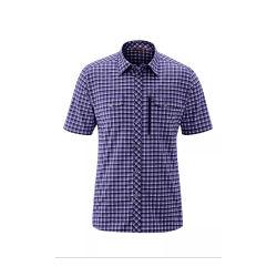 短い袖によって点検されるワイシャツの100%年の綿