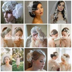 La boda hecha a mano de los accesorios nupciales de encargo vela los pedazos nupciales de encargo V2017117 del pelo de los velos del Birdcage de Fascinator