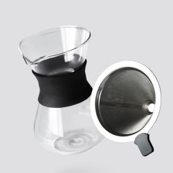 [بوروسليكت غلسّ] عال [بوور-وفر] قهوة بئر قليل إنتاج مع سليكوون عنق و [ستينلسّ ستيل] مرشحة