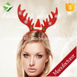 Прелестная Рождество головная стяжка оленей оленьих рогов пуховые снежинка Bell Hairband настоящей