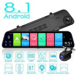 2K 12-дюймовый Android 8.1 Car DVR навигации GPS с двумя объективами зеркало заднего вида панели камеры