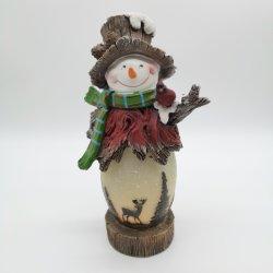 Luz LED Polyresin muñeco de nieve con LED parpadeante de Navidad velas la decoración del hogar