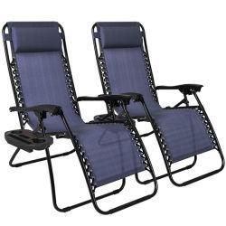 휴대용 Sun Bed 비치 의자 접이식 파티오 라운저 의자(인체공학 컵 홀더가 있는 영 그래비티 의자