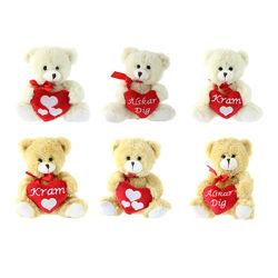 Nouveau Valentin cadeau jouet en peluche ours en peluche avec coeur rouge Logo personnalisé Cartoon Cute animal en peluche ours en peluche Jouet souple Valentine