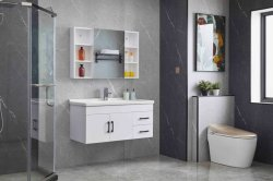 De witte Geschilderde Ijdelheid van de Badkamers met het Kabinet van de Spiegel en Ceramisch Bassin van de Fabriek van China