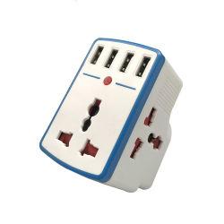 3 contacts prise adaptateur de voyage universel avec 4 ports USB 3.4A