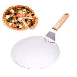 10-дюймовый корпус из нержавеющей стали пицца лопаты деревянной ручкой большая круглая форма для выпечки пиццы безопасной передачи формы для выпечки инструменты