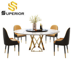 Comercio al por mayor English Hotel de diseño giratorio redonda mesa de comedor de mármol blanco