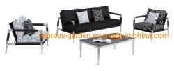 Modernes Italien-im Freienmöbel-Ausgangsaluminium mit im Freiengewebe-Stuhl, keramischer Glaskaffeetisch für Aufenthaltsraum-Garten-Set