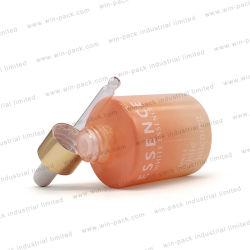 Gradiente de 30 ml de aceite esencial de Naranja Frasco gotero de vidrio aluminio Oro Shinny Cuello y Cabeza de caucho de silicona color blanco mate