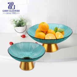 أواني زجاجية وزخرفية مصنوعة يدويًا منخفضة الموق مطلية بالألوان وزجاج بحجم 10 بوصات طبق لوح الفاكهة