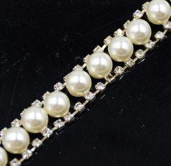 Cordões de plástico Diamante decorativas Pearl Rhinestone metálica corrente corrente para o saco de Roupa Equipamento